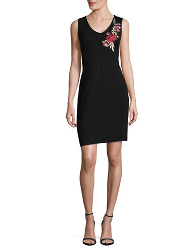 Lori Michaels Embroidered Floral V-Neck Sheath Dress-BLACK-Small