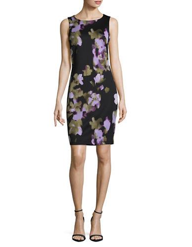 Lori Michaels Floral Scuba Sheath Dress-BLACK MULTI-Medium