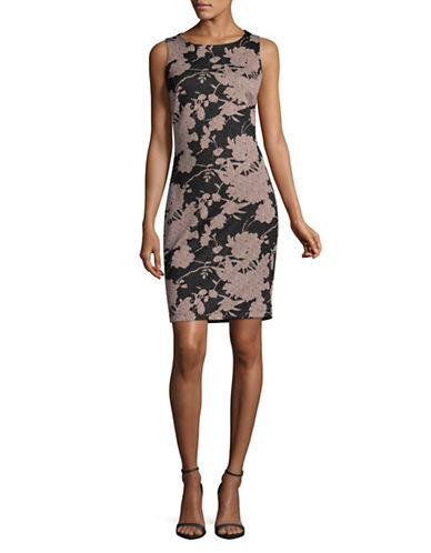 Lori Michaels Floral Scuba Sheath Dress-ASSORTED-Small