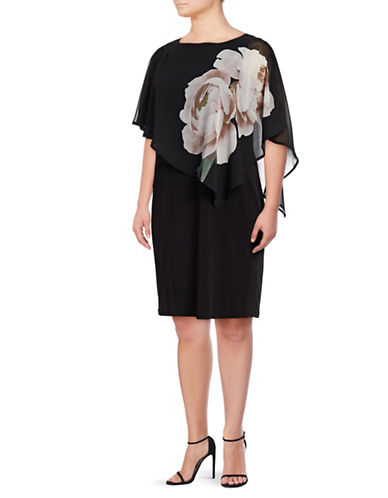 Lori Michaels Floral Chiffon Sheath Dress-BLACK-1X