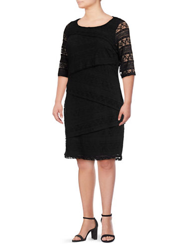 Lori Michaels Tiered Stretch Lace Dress-BLACK-1X