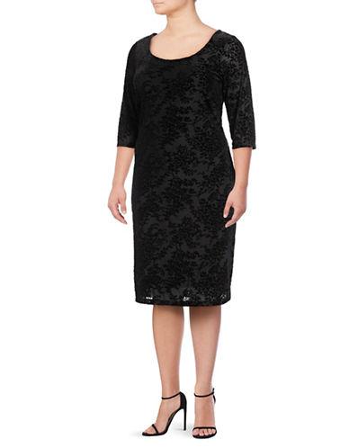 Lori Michaels Velvet Burnout Shift Dress-BLACK-1X