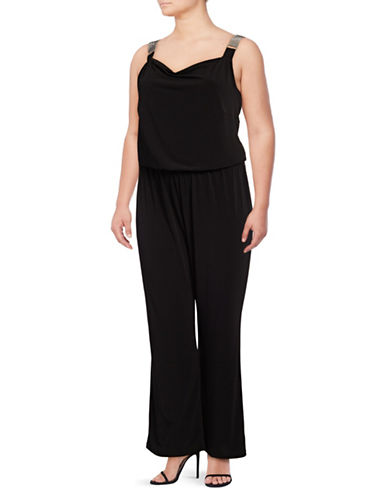 Lori Michaels Plus Rhinestone Strap Jumpsuit-BLACK-2X