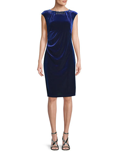 Lori Michaels Beaded Neck Cap-Sleeve Velvet Sheath Dress-NAVY-Large