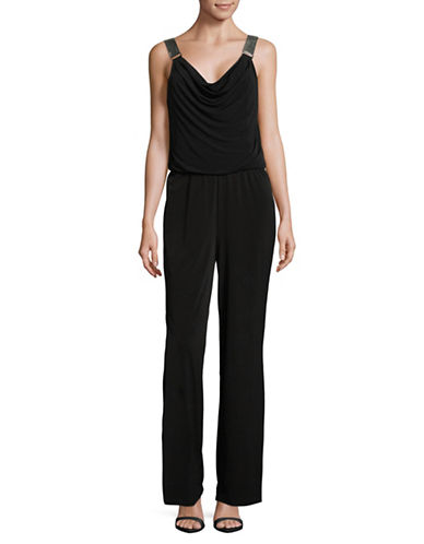Lori Michaels Embellished Sleeveless Jumpsuit-BLACK-Large