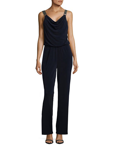 Lori Michaels Embellished Sleeveless Jumpsuit-BLUE-X-Large