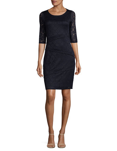 Lori Michaels Lace Embroidered Sheath Dress-BLUE-Medium