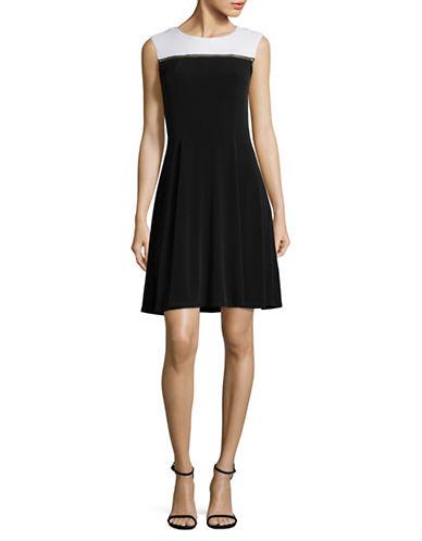 Lori Michaels Goldtone Zipper Dress-BLACK/WHITE-Large