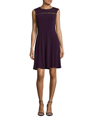 Lori Michaels Goldtone Zipper Dress-PURPLE-X-Large