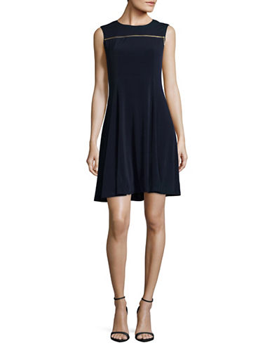 Lori Michaels Goldtone Zipper Dress-BLUE-Small