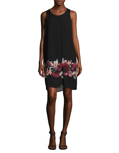 Lori Michaels Sleeveless Chiffon Sheath Dress-BLACK-Medium