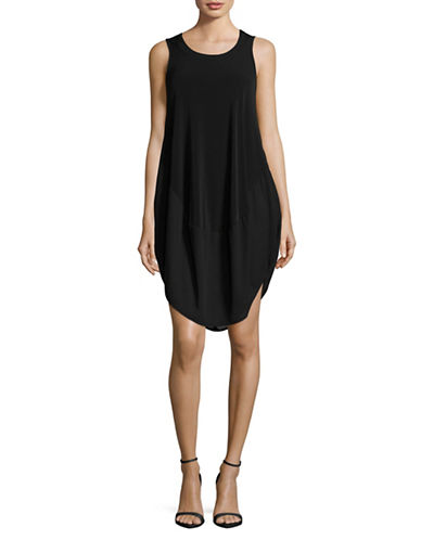 Lori Michaels Chiffon Hem Sleeveless Dress-BLACK-Small