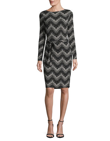 Lori Michaels Zig-Zag Print Self-Tie Boat Neck Dress-BLACK-X-Large