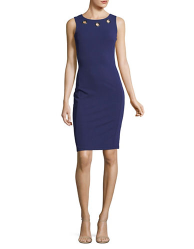 Lori Michaels Grommet Sleeveless Sheath Dress-NAVY-Large