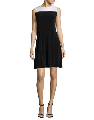 Lori Michaels Two-Tone Sleeveless Dress-BLACK-Medium