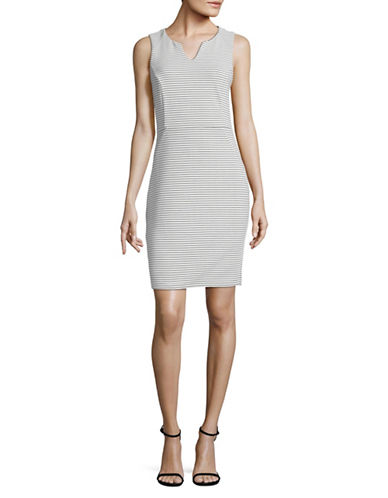 Lori Michaels Striped Knit Sheath Dress-WHITE-Small