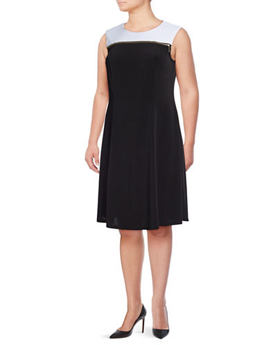 Lori Michaels Plus Sleeveless Fit-and-Flare Dress-BLACK-3X