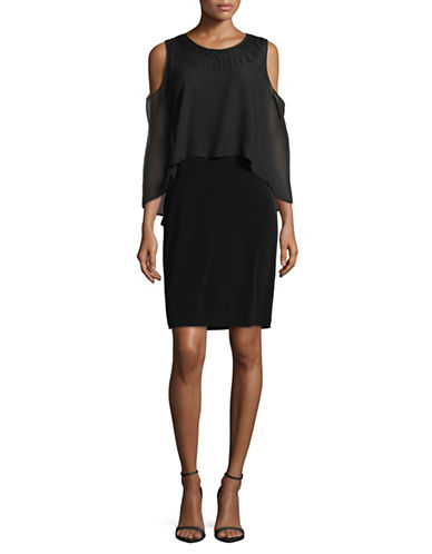Lori Michaels Chiffon Overlay Cold-Shoulder Dress-BLACK-Large