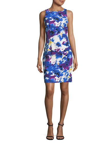 Lori Michaels Scuba Printed Sleeveless Sheath Dress-BLUE-X-Large