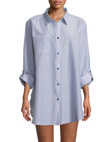 Lori Michaels Striped Oversize Roll-Up Shirt-BLUE-Large