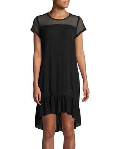 Lori Michaels Mesh Ruffle-Hem Coverup Dress-BLACK-Medium