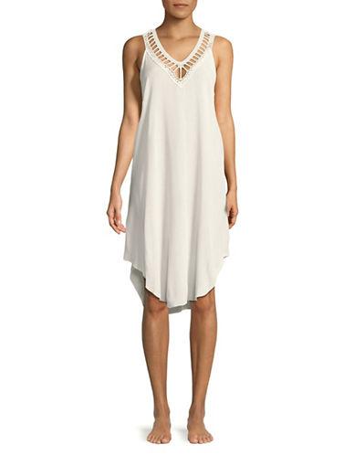 Lori Michaels Crochet Coverup Dress-WHITE-Small