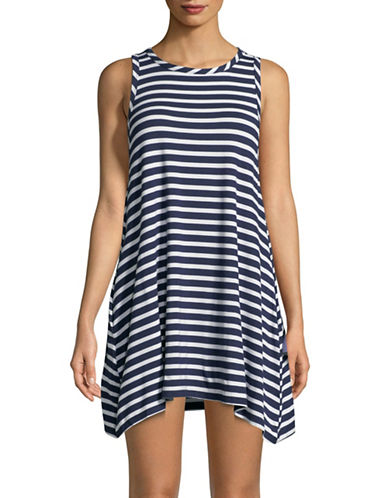 Lori Michaels Striped Coverup Tunic-NAVY-Medium
