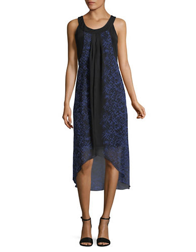 Lori Michaels Overlayer Chiffon Dress-BLACK/BLUE-Medium