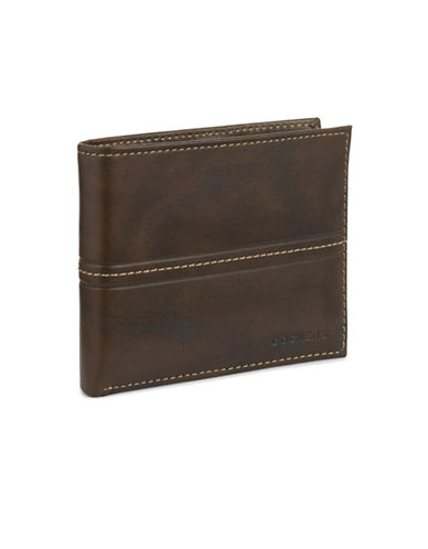 Dockers Pocketmate Leather Wallet-DARK BROWN-One Size