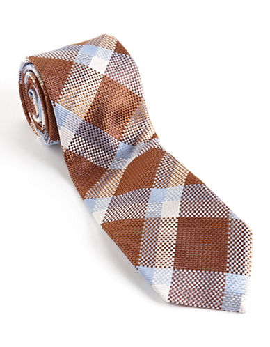 Textured Plaid Silk Tie brown One Size