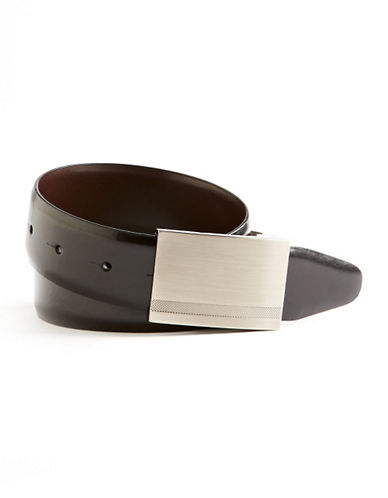 Black Brown 1826 Plaque Rev Belt-BLACK/BROWN-36