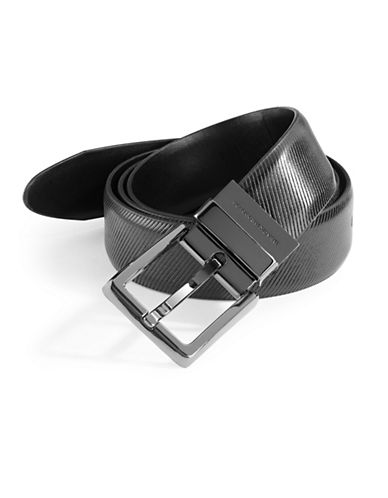 Black Brown 1826 Reversible Coated Leather Belt-BLACK-38