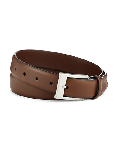 Tommy Hilfiger 32mm Saddle Dress Leather Belt-TAN-34