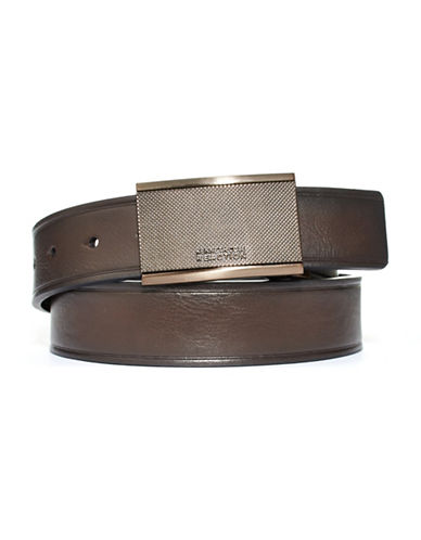 Kenneth Cole Reaction Plaque Buckle Belt-BROWN-42