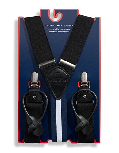 Tommy Hilfiger Solid Convertible Suspenders-BLACK-One Size