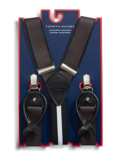 Tommy Hilfiger Printed Convertible Suspenders-BLACK/GREY-One Size