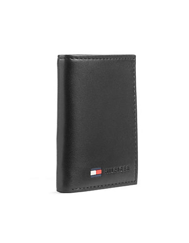 Tommy Hilfiger Trifold Leather Wallet-BLACK-One Size