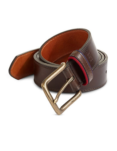 Tommy Hilfiger Ribbon Trim Belt-BROWN-40