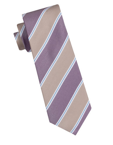 Vince Camuto Striped Slim Tie-TAUPE-One Size