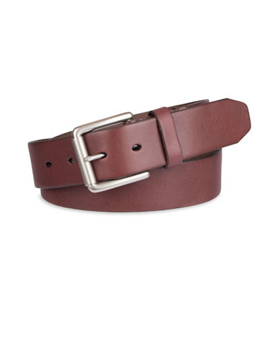 LeviS Cut Edge Bridle Leather Belt-BROWN-38