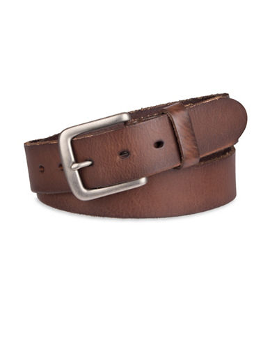 LeviS Logo Embossed Bridle Leather Belt-BROWN-38