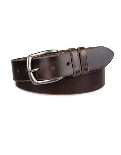 LeviS Bevelled Edge Leather Belt with Dual Loops-BROWN-32