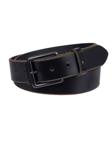 LeviS Briddle Cut Buffalo Leather Belt-BLACK-38