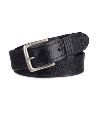 LeviS Cut Edge Bridle Belt with Rivets-BLACK-42