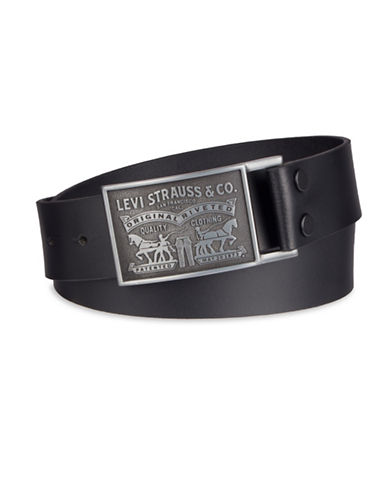 LeviS Horse Embossed Plaque Buckle Bridle Belt-BLACK-36