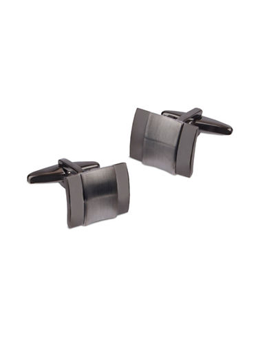 Kenneth Cole Reaction Brushed Insert Cufflinks-BLACK NICKEL-One Size