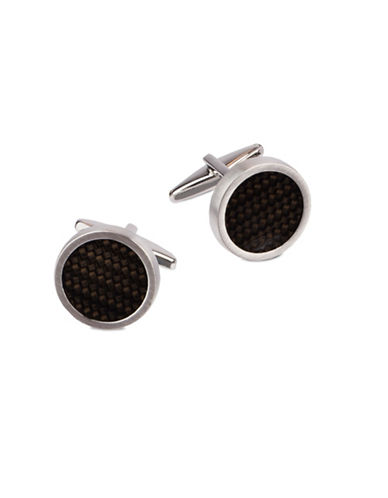 Kenneth Cole Reaction Round Basketweave Cufflinks-BLACK/SILVER-One Size