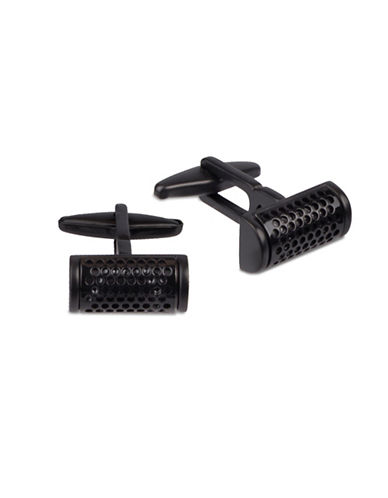 Kenneth Cole Reaction Perforated Half-Moon Cufflinks-BLACK-One Size