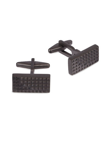 Kenneth Cole Reaction Textural Grid Cufflinks-GUNMETAL-One Size