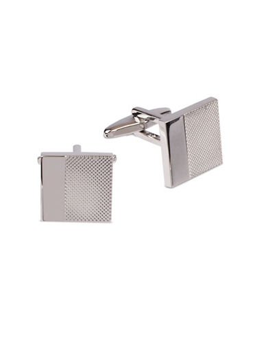 Kenneth Cole Reaction Cross-Cut Cufflinks-SILVER-One Size